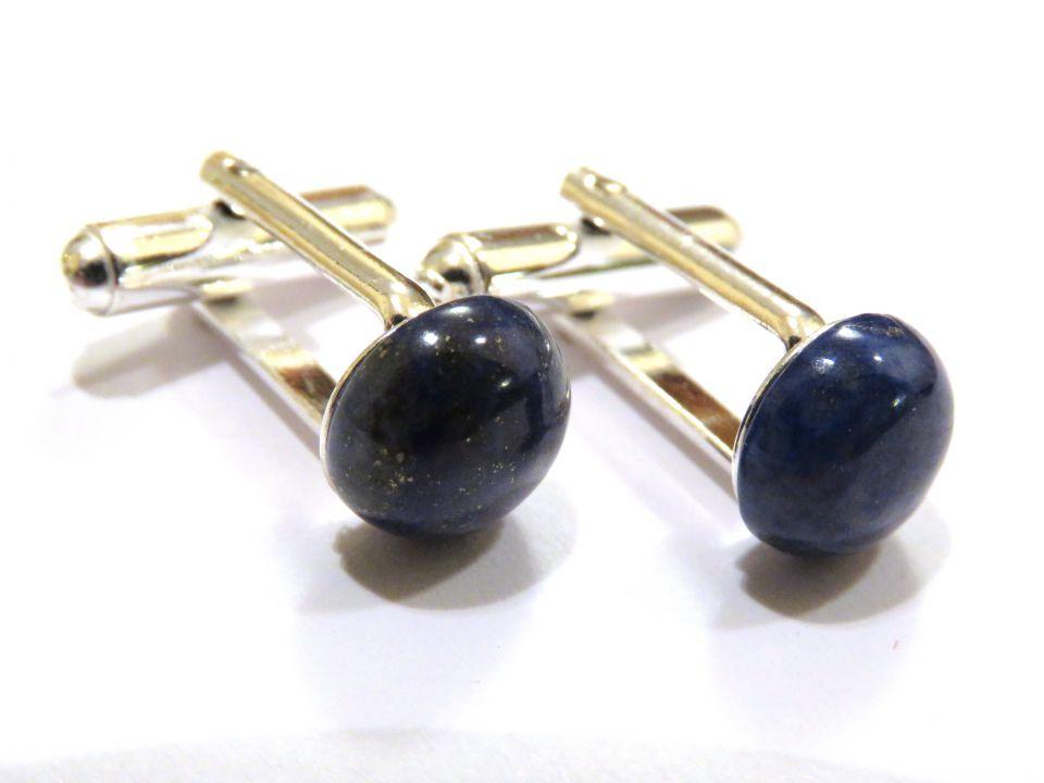 Butoni camasa barbati - Argint 925 si Lapis lazuli - BU444 - Butoni pietre semipretioase, butoni unisex argint, butoni albastri eleganti
