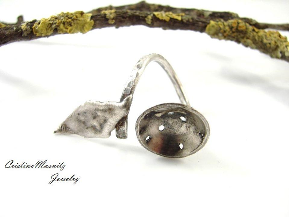 Inel reglabil din argint 925 reticulat si partial oxidat