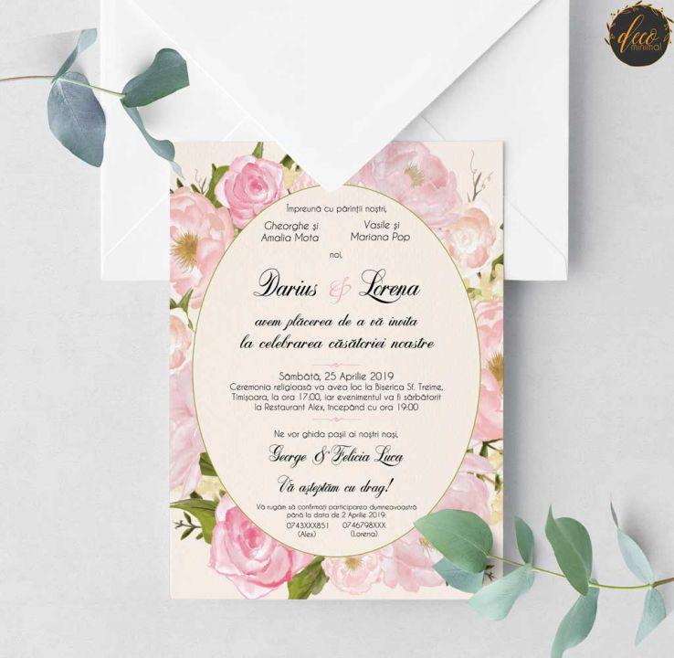 Invitatie Nunta Peonies Invitatie Rustica Invitatie Flori