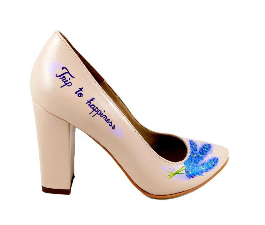 Pantofi pictati manual - Levantica - Pantofi de poveste - pantofi de mireasa, pe comanda - piele naturala