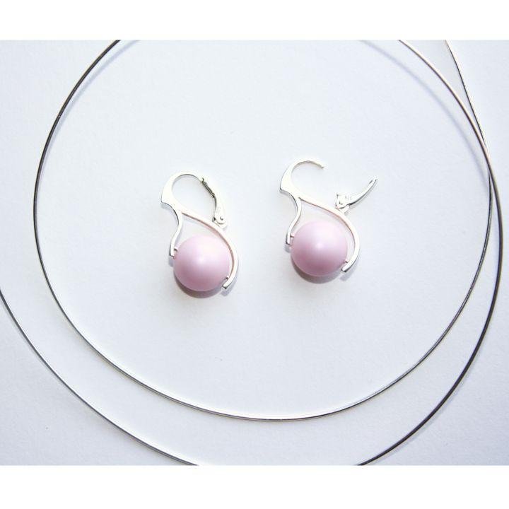 Cercei din argint 925 cu perle Swarovski - Pink