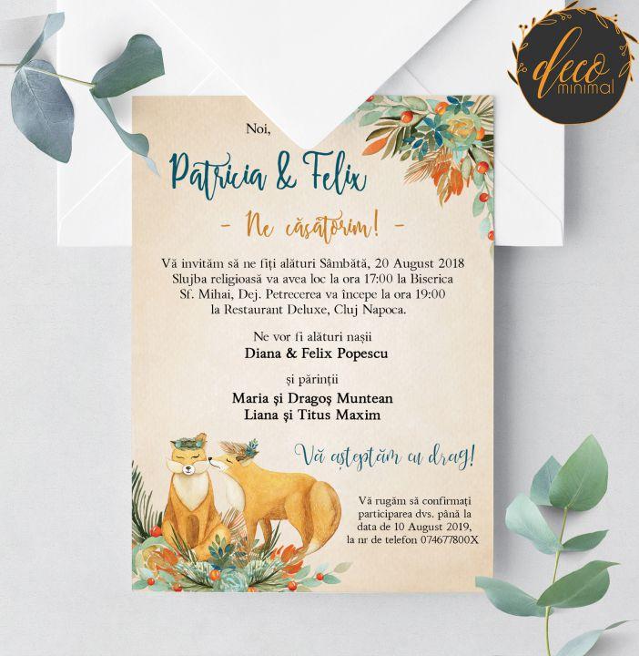 Invitatie Nunta Foxes Invitatie Rustica Invitatie Flori Invitatie