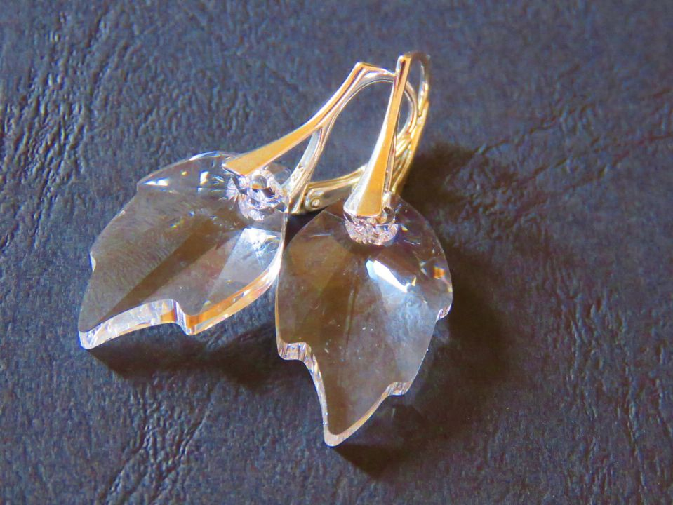 Cercei mari eleganti din Cristale Swarovski leaf / frunza si argint 925 - CE299.1 - Cercei din cristale albe, cercei romantici, cercei mireasa, cercei ocazie