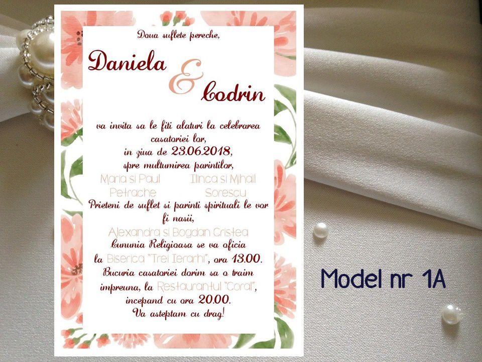 Invitatie De Nunta In Rama Florala Modele 1a 4a Breslo