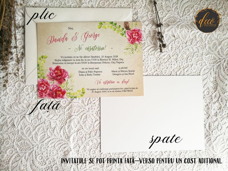 Invitatie Nunta Spring Peonies Invitatie Rustica Invitatie Flori