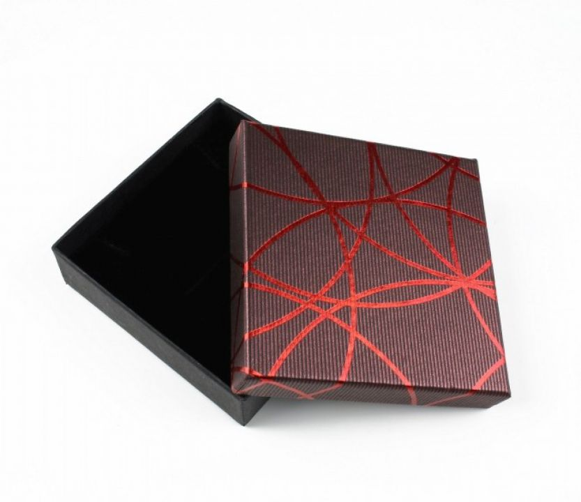 Cutie cadou visinie pentru set (cercei, colier si inel) 2,5x8,5x8,5 cm