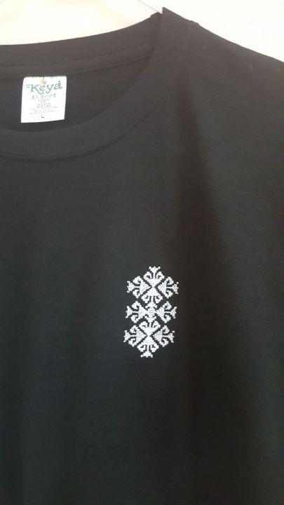 Tricou negru cu broderie etno