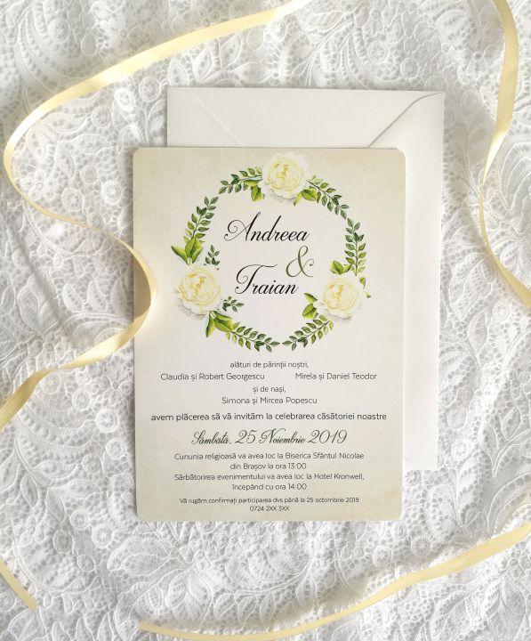 Invitatie Nunta White Roses Invitatie Rustica Invitatie Flori