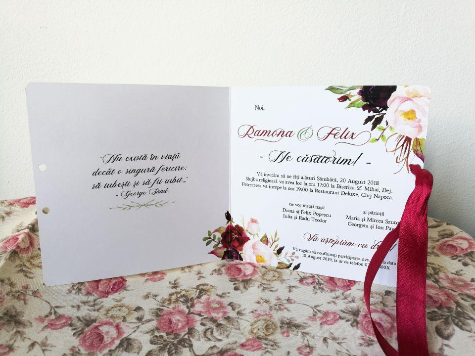 Invitatie Nunta Flori Rosu Inchis Fara Plic Invitatie Nunta De