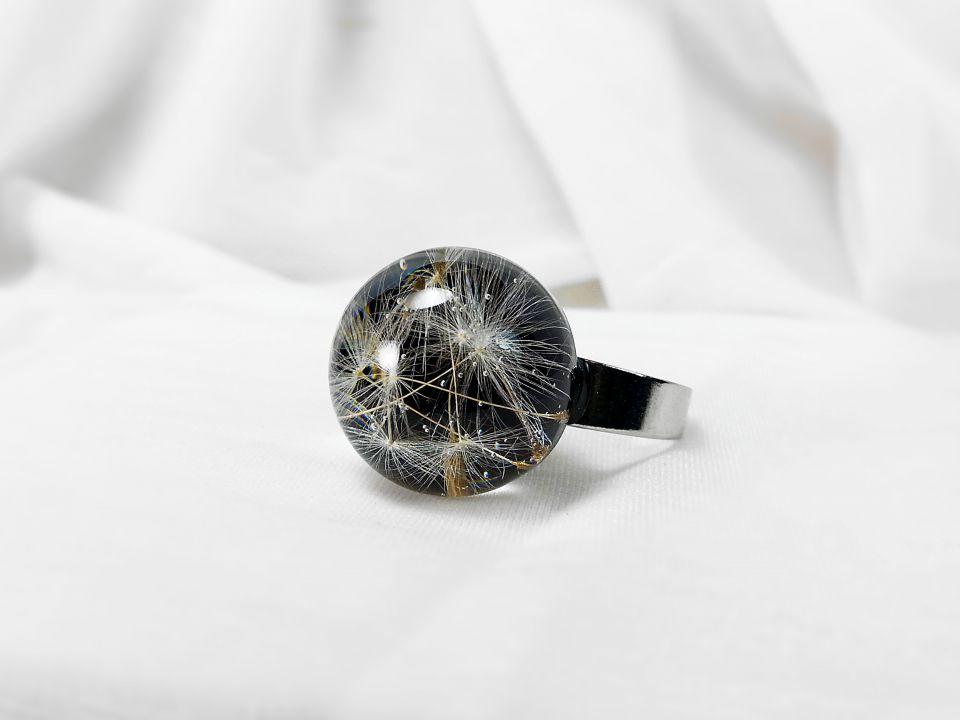 Inel inoxidabil din rasina cu sfera glob puf de papadie, inel negru semint de papadie