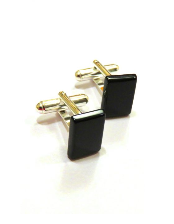 Butoni camasa barbati - Argint 925 si Onix - BU446.1 - Butoni pietre semipretioase, butoni unisex argint, butoni negri eleganti, butoni dreptunghiulari