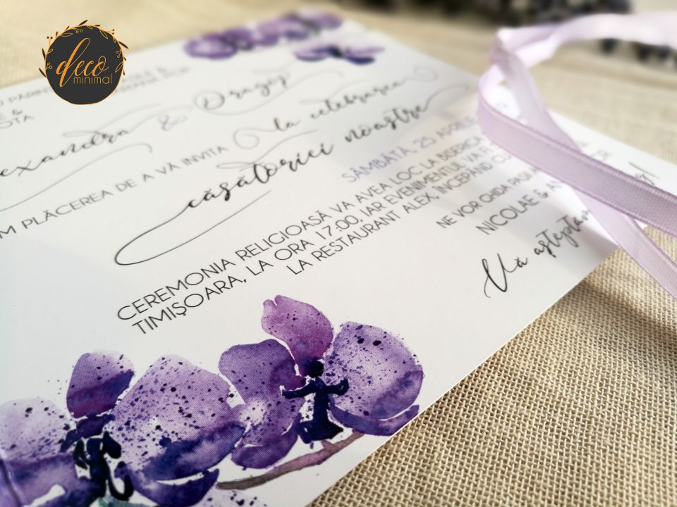 Invitatie nunta orhidee, fara plic, Invitatie nunta violet, invitatie florala, panglica