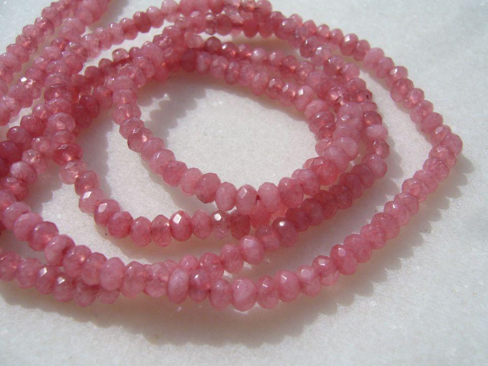 Agate roz prafuit rondele mici fatetate sir aprox 18.5 cm - fara inchizatoare