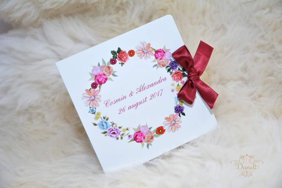 Invitatie Nunta Model Floral Bordo Breslo
