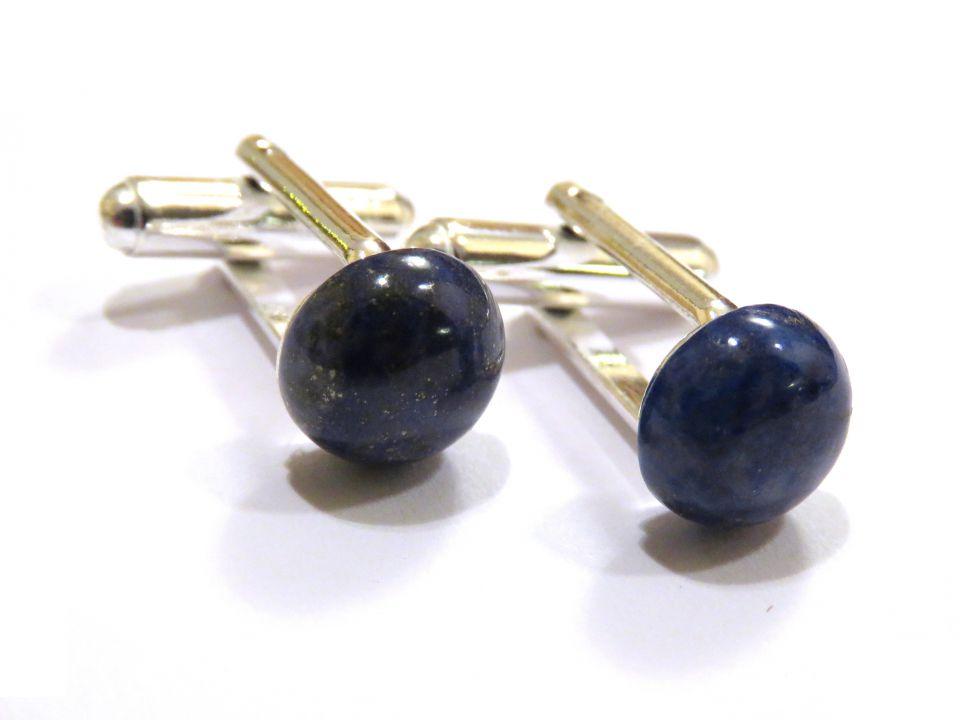 Butoni camasa barbati - Argint 925 si Lapis lazuli - BU554 - Butoni pietre semipretioase, butoni unisex argint, butoni albastri eleganti