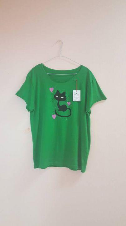 Tricou din bumbac, pictat cu pisica