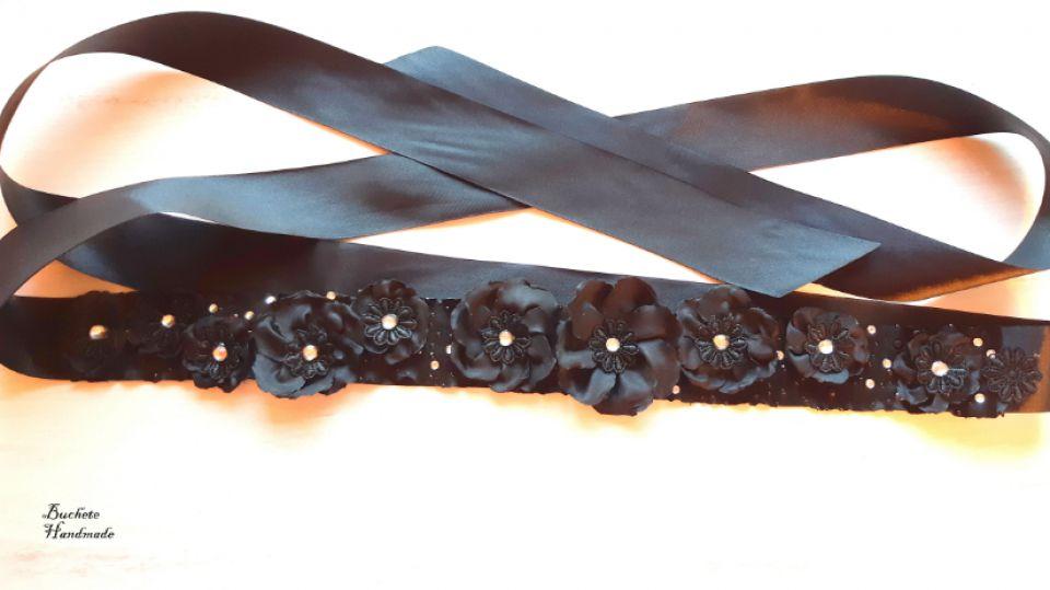 Brau cu flori textie/Cordon black/Curea cu floricele