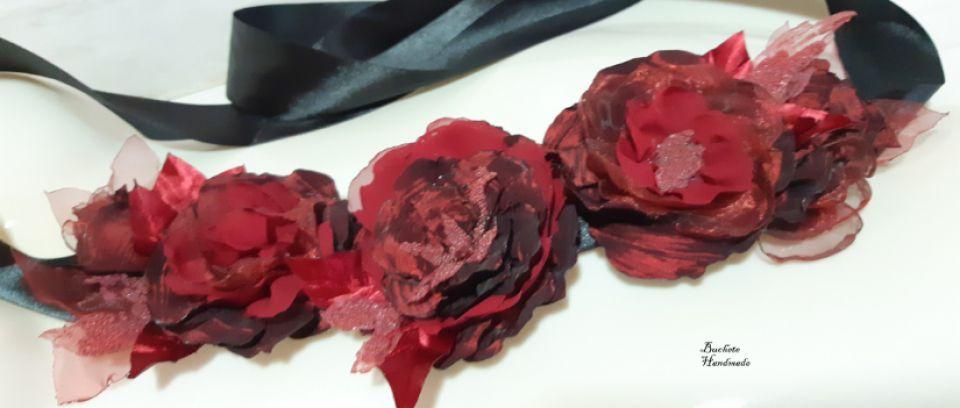 Brau/Cordon cu flori textile/Curea grena