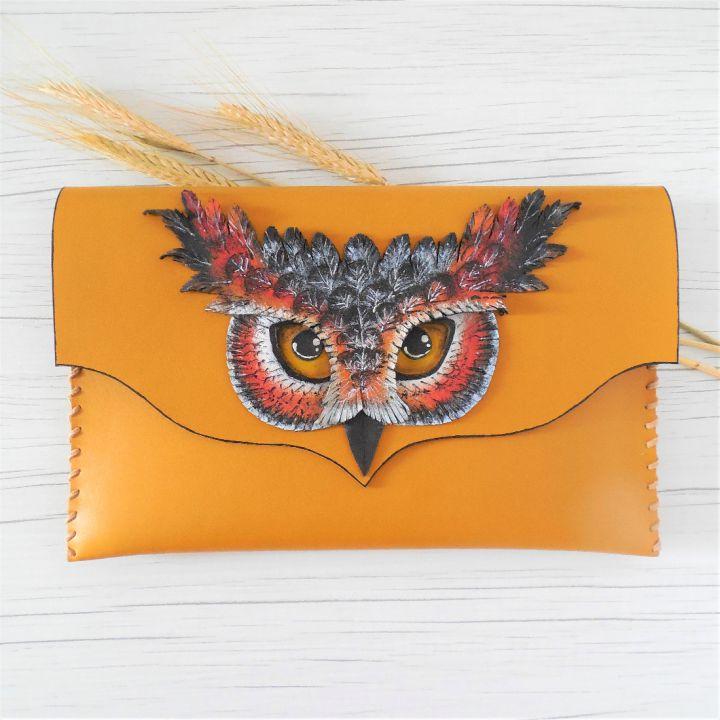 poseta plic handmade unicat din piele - OWL
