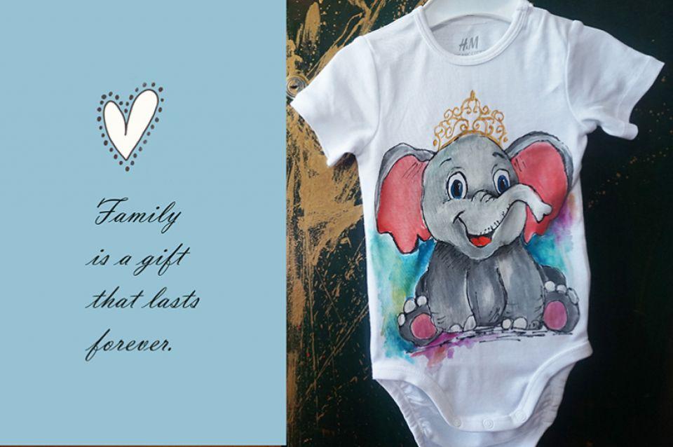 Tricouri set mama-fiica pictate cu elefanți