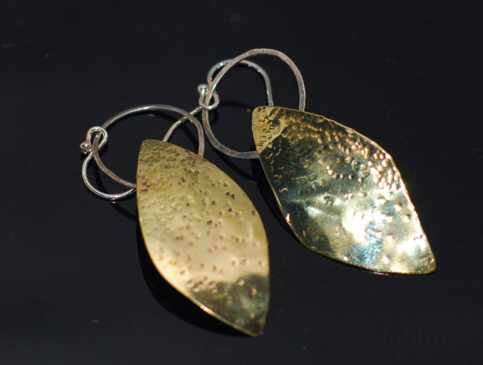 Cercei frunză alamă şi argint, cercei statement, cercei lungi, cercei cu inchizătoare din argint