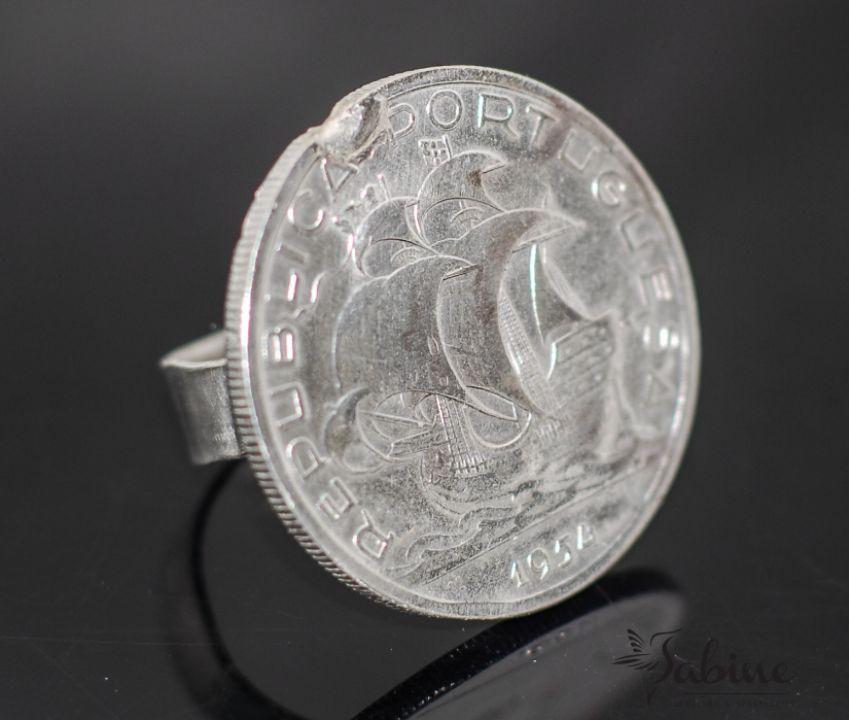 Inel din argint, din moneda de 10 escudos, din Portugalia, inel moneda