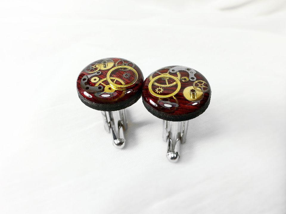 Set cadou ac si butoni costum, piese de ceas steampunk, ac pin de costum rever lavaliera, butoni mecanici, cadou pentru el
