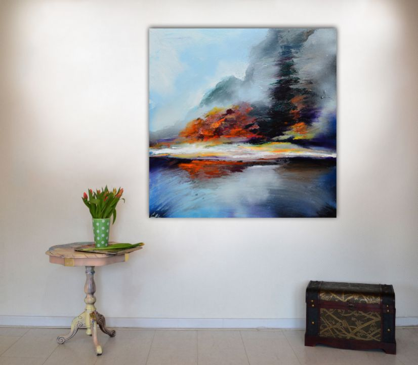"Tablou pictat manual XL, ''New Horizon 94"" - Peisaj abstract XL - Pictura pe panza cu sasiu din lemn,80x80x2 cm, Ready to Hang, Modern, Unicat, Original"