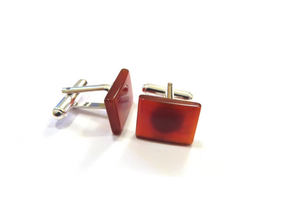 Butoni camasa barbati - Argint 925 si Carneol maro roscat - BU593 - Butoni pietre semipretioase, butoni unisex argint, butoni roscati eleganti, butoni dreptunghiulari