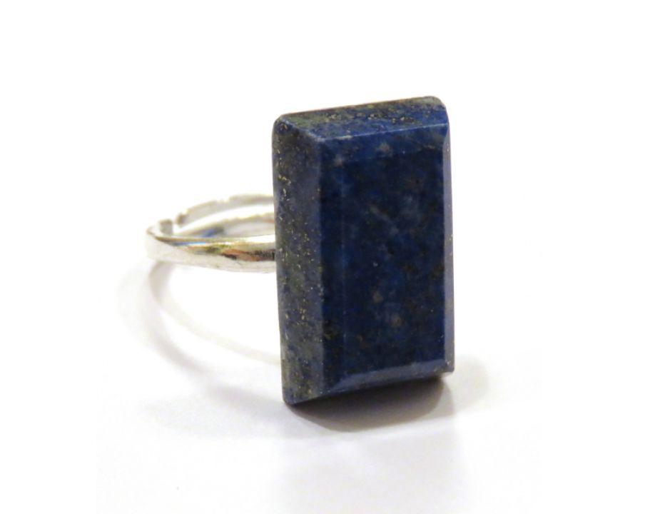 Inel deosebit din Argint 925 si Lapis lazuli dreptunghiular fatetat - IN594 - Inel albastru cu piatra mare, inel reglabil din pietre semipretioase