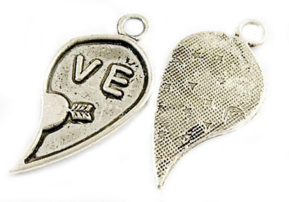 """Pandantiv inima rupta jumatate """"Love"""", argint tibetan,  CP276"""