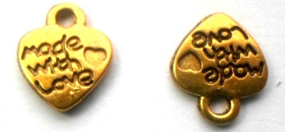 Charm inima made with love auriu