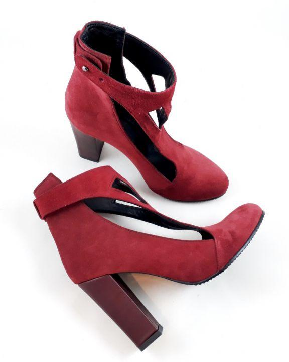 Reina - bordeaux - Pantof - botina piele naturala - pantofi pe comanda - Ancolette