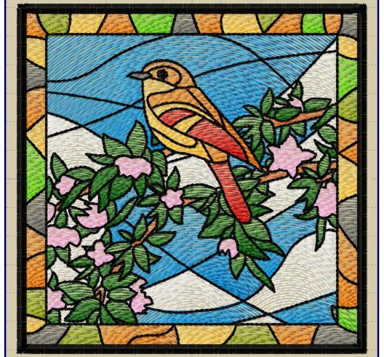 Pasare si flori tablou mic tip  Stained Glass