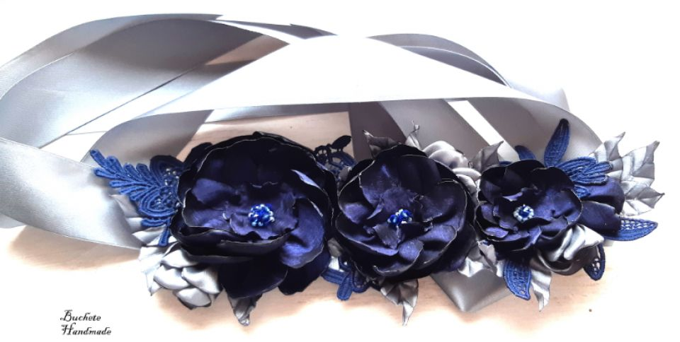 Brau cu flori textile/Cordon albastru/Curea cu flori