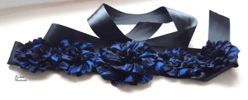Brau cu flori textile/Cordon negru/Curea cu floricele