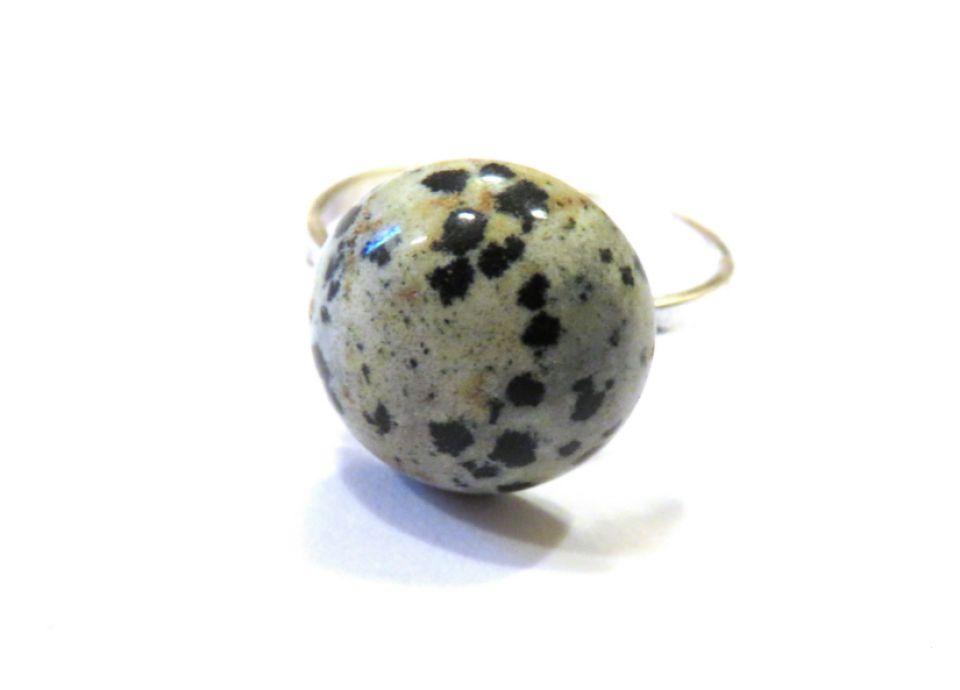 Inel si cercei din Argint 925 si Jasp dalmatian rotund - IN535, CE535 - Inel alb negru din pietre semipretioase, inel / cercei casual business, cadou sotie / prietena 8 Martie / Dragobete / Craciun / aniversare, cristale vindecatoare