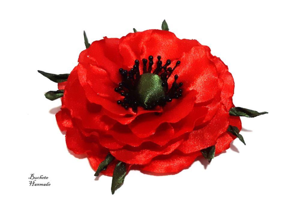 Brosa floare de mac/Accesoriu par/Flori textile