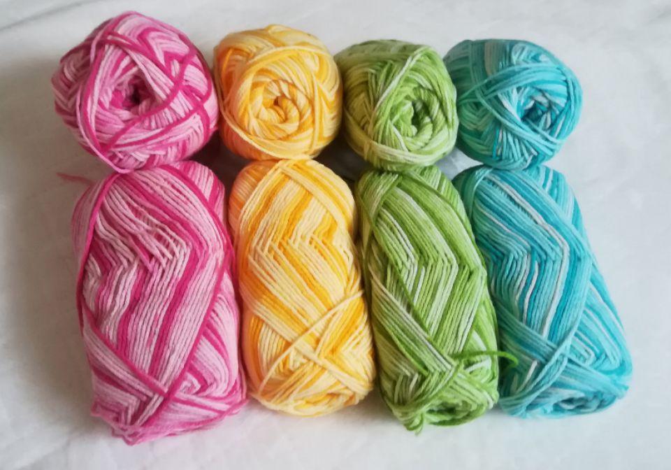 Fir de tricotat croșetat acril baby degrade Roz galben verde albastru turcoaz