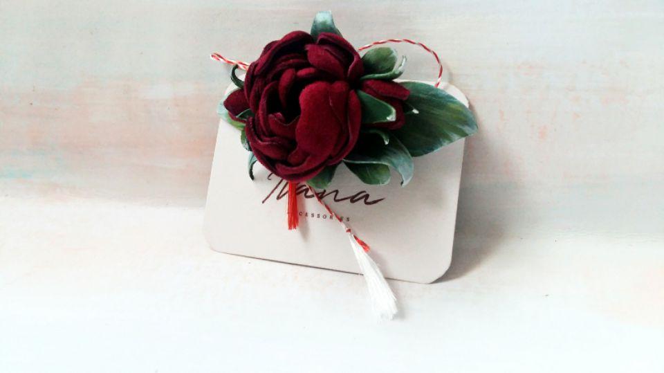Martisor piele naturală  trandafir