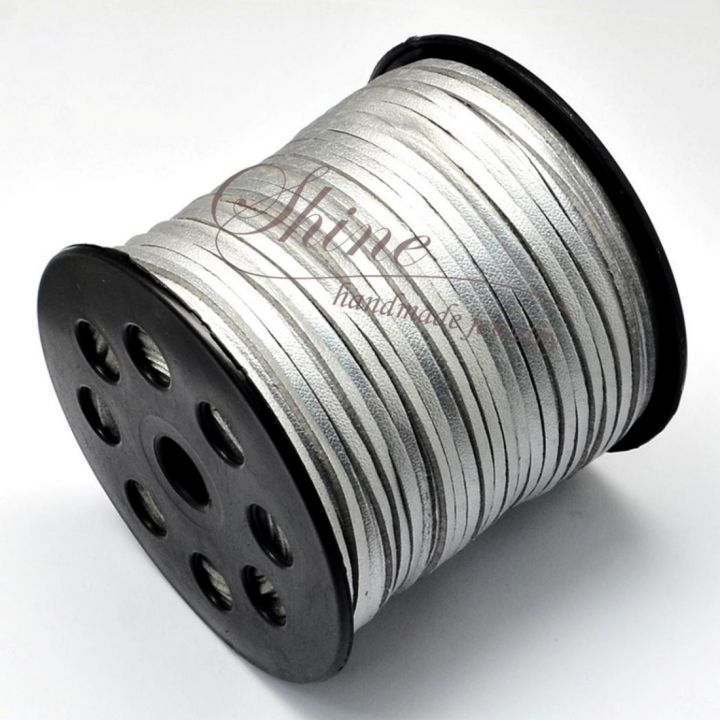 Snur Suede argintiu, 2.7x1.4mm