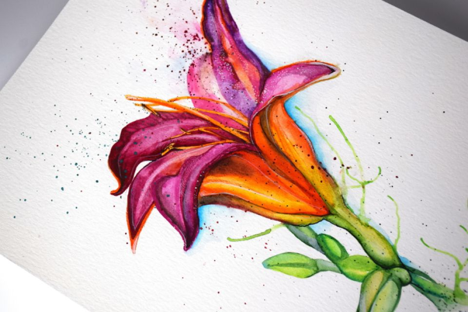 Sweet Lily - Pictura Originala in Acuarela - Nature & Colors Collection