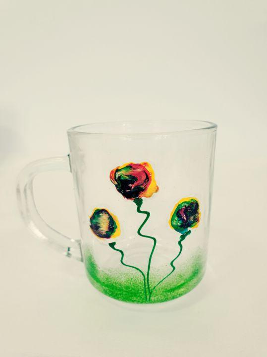 Canuta de ceai din sticla pictata manual