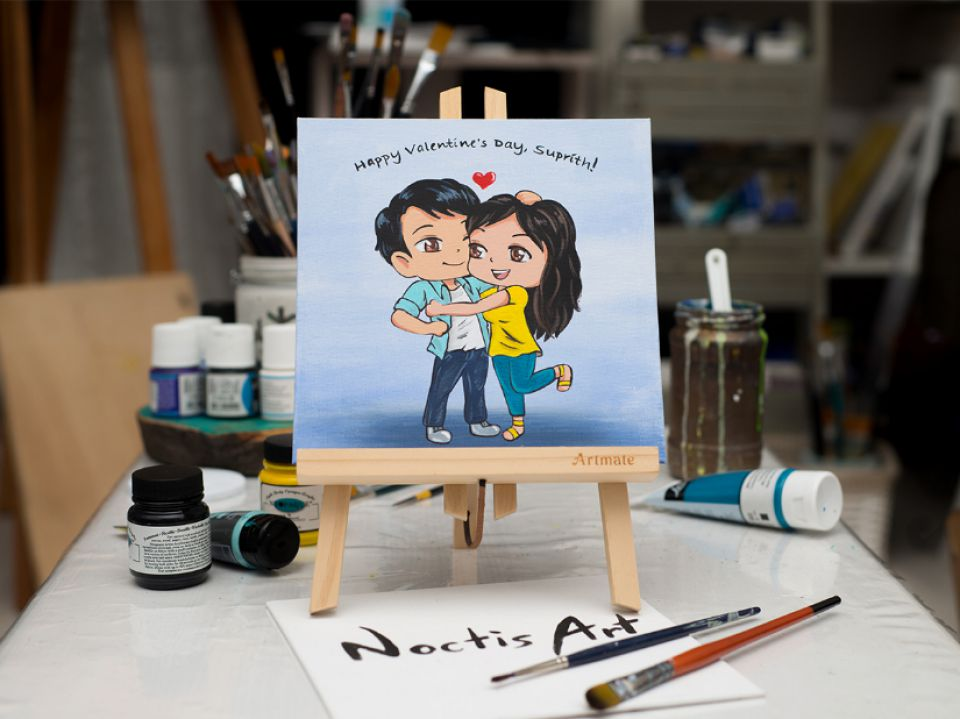 """Tablou Mini-Avatare Cuplu """"Chibi Love"""" (caricatura) by NoctisArt"""