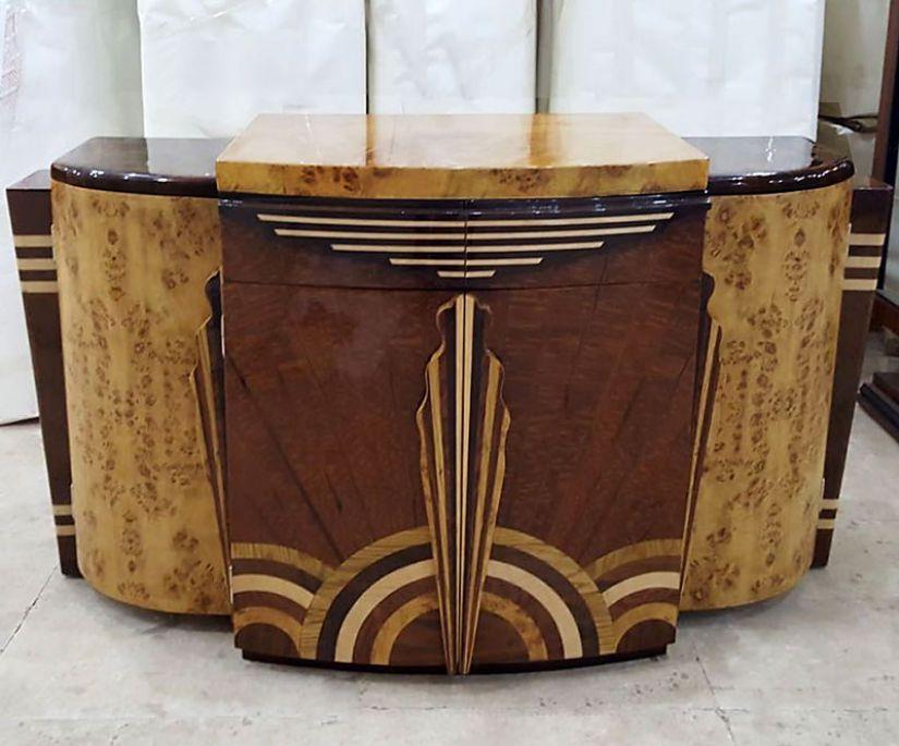 Bufet art deco din lemn masiv furniruit