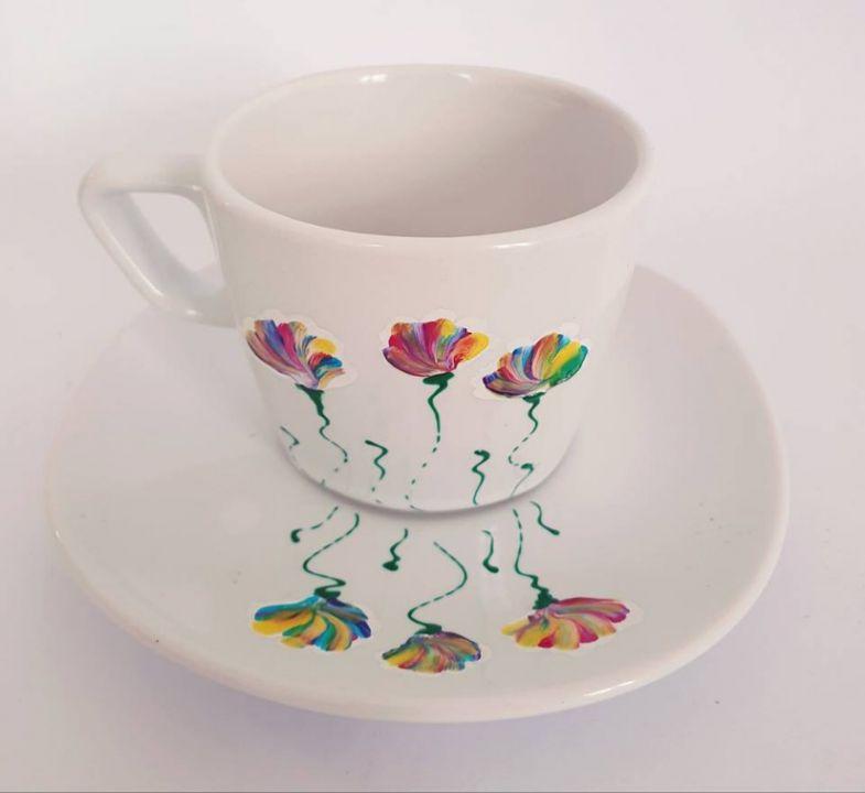 Ceasca cu farfurie din ceramica pictata manual