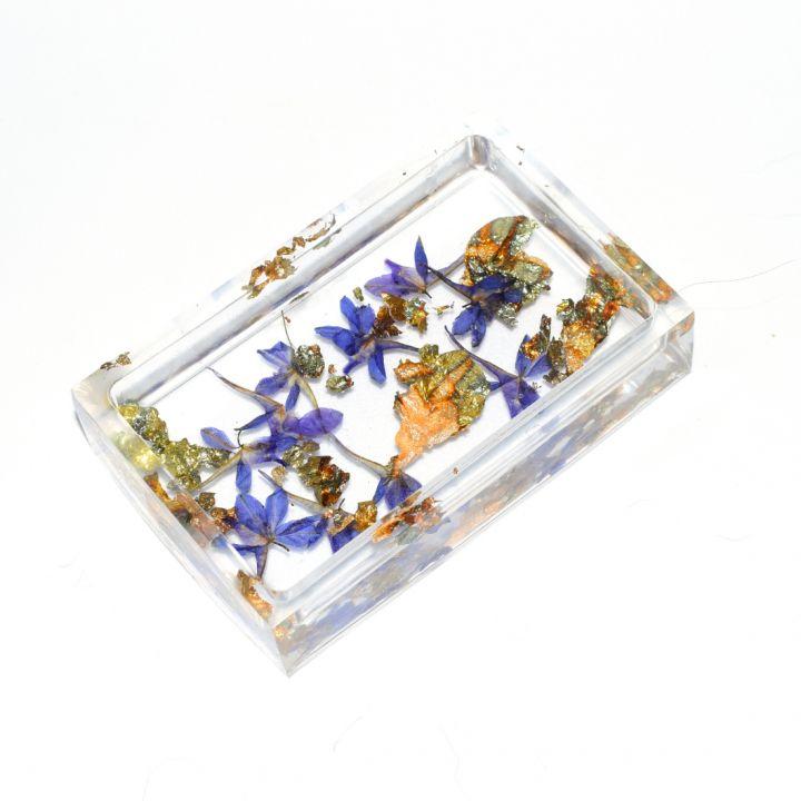 Savoniera din rasina cu plante naturale si foita auriu antichizat, Bol pentru bijuterii si obiecte mici, Suport pentru chei