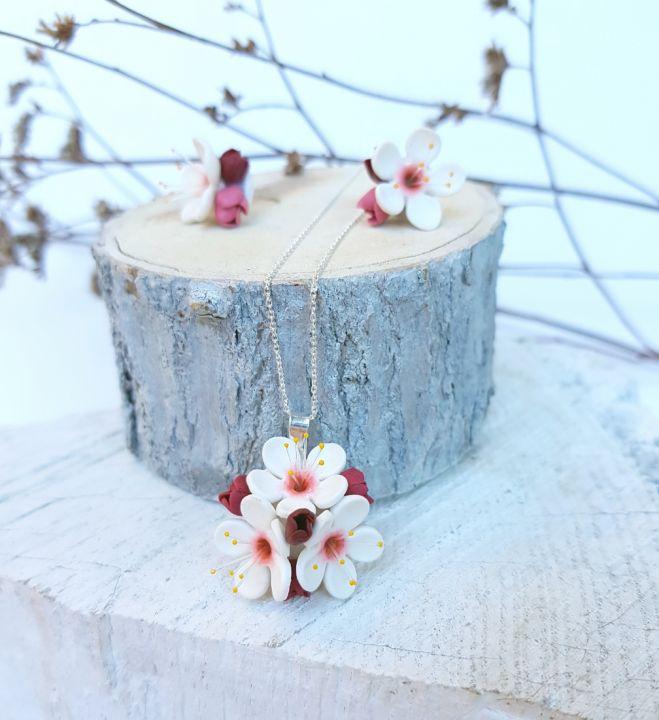 Set flori de cires, argint 925