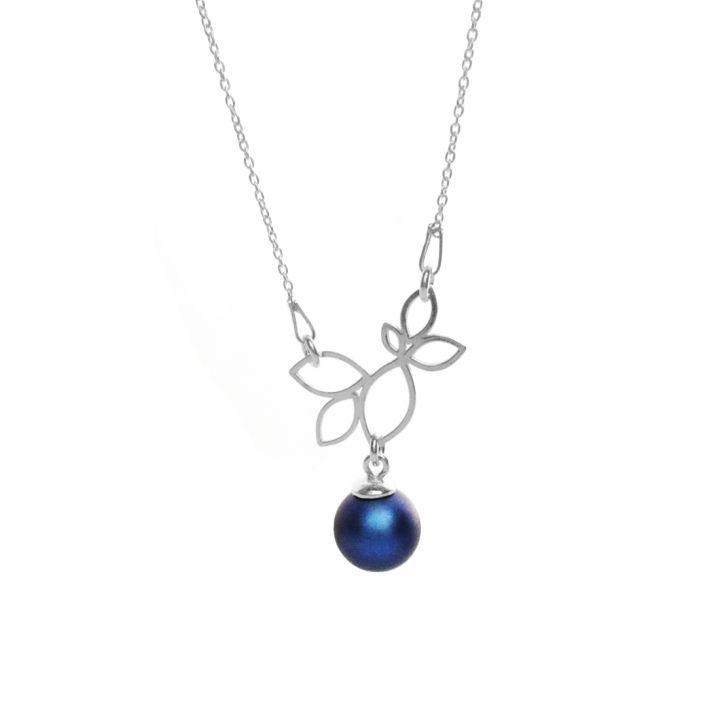 Colier din argint 925 ramura cu perla Swarovski - Deep Blue