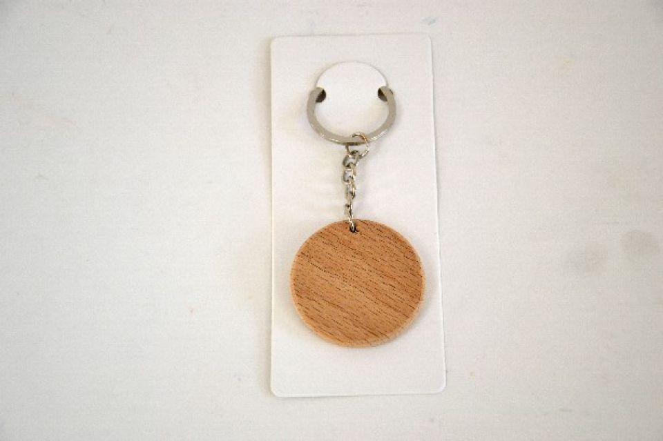 Breloc din lemn- forma cerc- 4 cm